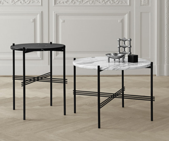 Gubi TS Coffee Table - Large Dia.80cm. - Sort Marmor Messing Stel