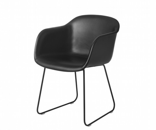 Muuto Fiber Chair Sled - Arm - Læder