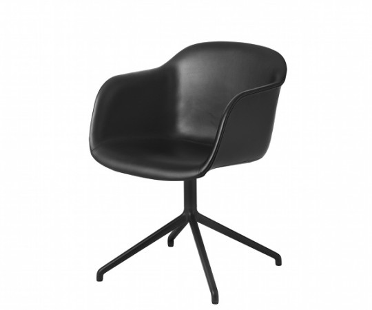 Muuto Fiber Chair Swivel - Arm - Læder
