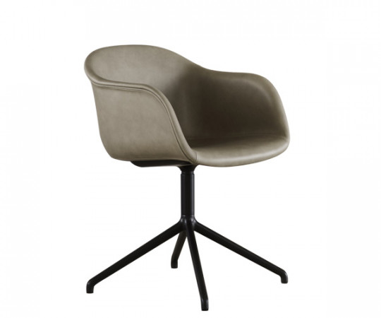 Muuto Fiber Chair Swivel - Arm - Stone Silk Læder - 6 stk. samlet - DEMO.