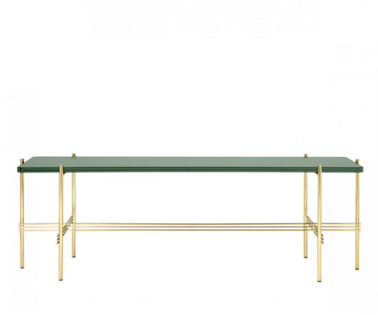 Gubi TS Dusty Green Glas Console - 1 Plade - Messing Stel