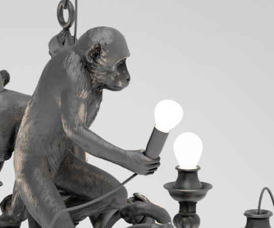 Seletti Monkey Chandelier - Sort