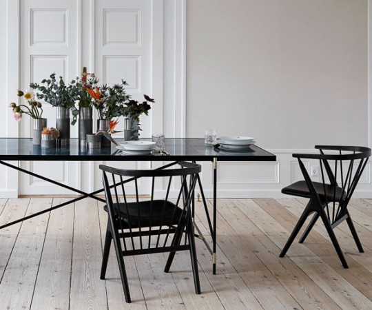 Handvark - Dining Table 185 - Black - Brass