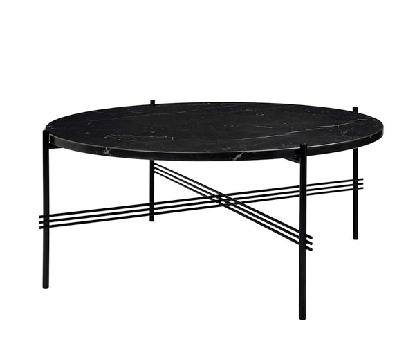 Gubi GamFratesi TS Coffee Table - Large Dia.80cm. - Sort Marmor Sort Stel