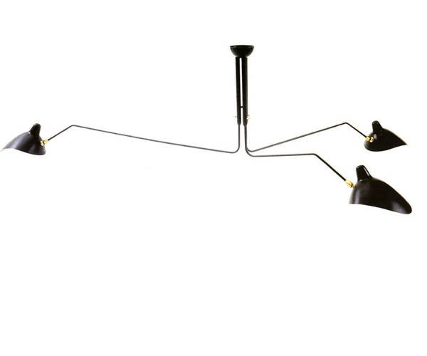 Serge Mouille Ceiling Lamp 3 Rotating Arms - P3B