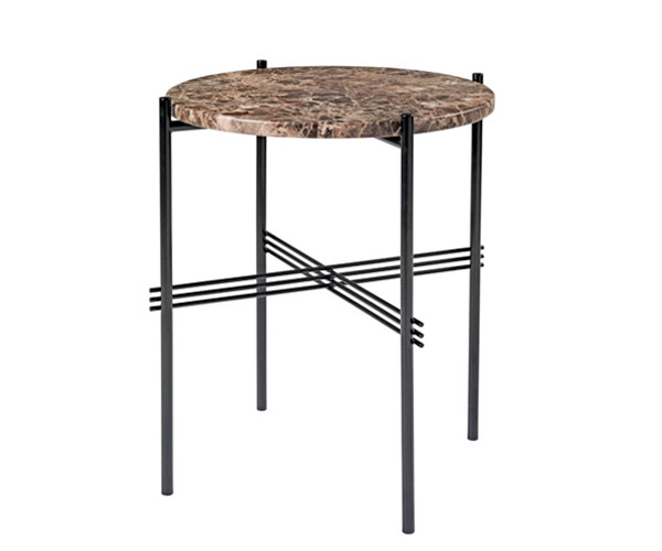 Gubi TS Side Table - Brun Marmor - Ø40 cm.