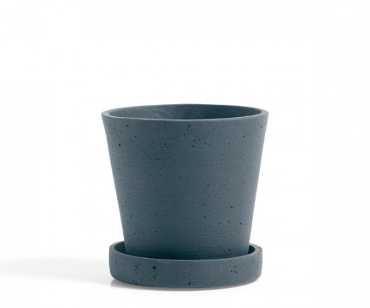 HAY Flowerpot with Saucer - Blue - Small