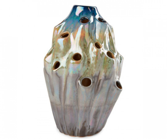 eden outcast lava vase blue large