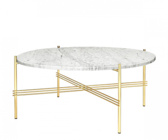 Gubi TS Coffee Table - Large Dia.80cm. - Hvid Marmor Messing Stel