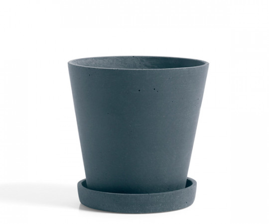HAY Flowerpot with Saucer - blue - Medium
