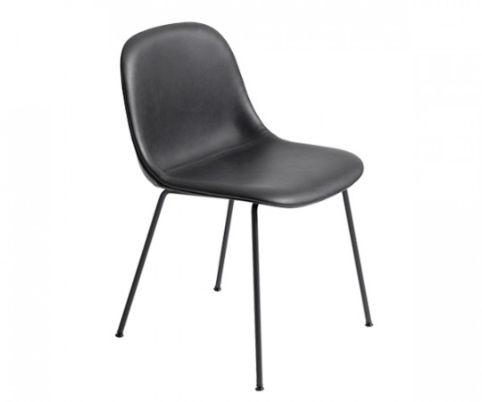 Muuto Fiber Side Chair - Tube Base - Sort Læder