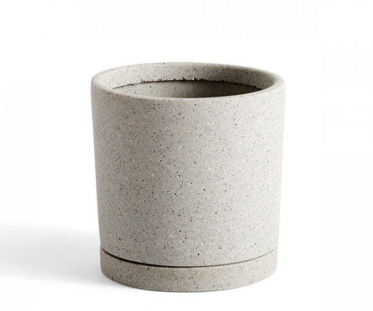 HAY Plant Pot With Saucer - M - Grå