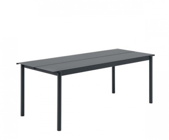 Muuto Linear Steel Bord - Sort - 200x75cm